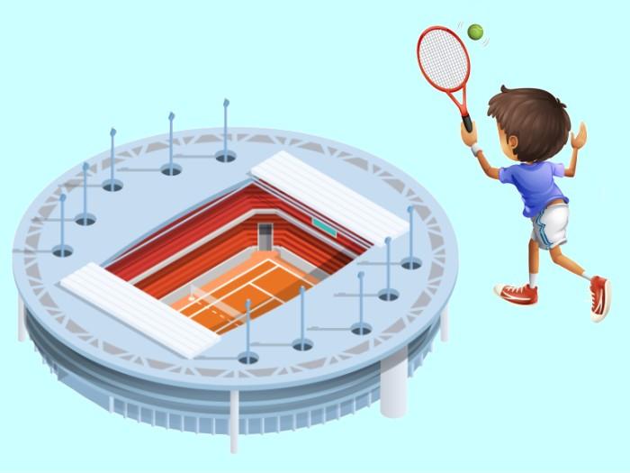 テニスコートと少年