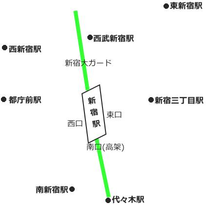 新宿駅周辺の簡略図