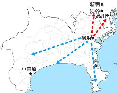 横浜駅中心の鉄道白地図