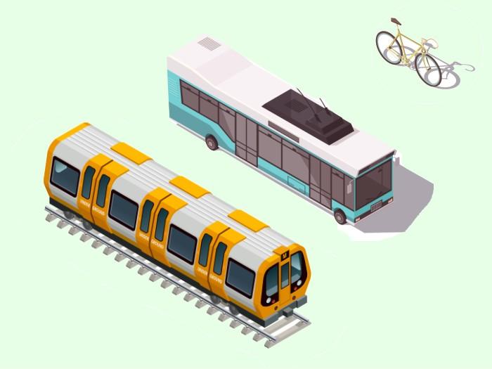自転車と路線バスと電車通勤