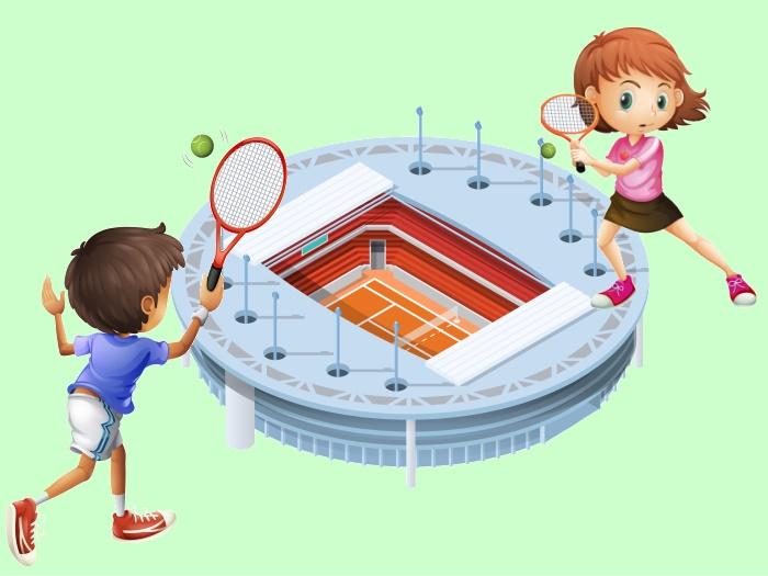テニス競技場と子ども
